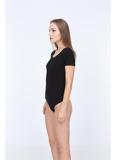 Obje Penye Modal Yarım Kollu String Çıtçıtlı Body Siyah
